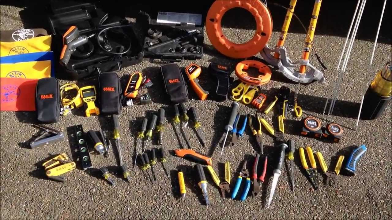 Tools, screwdriver, wire cutters, Klein, tape measures